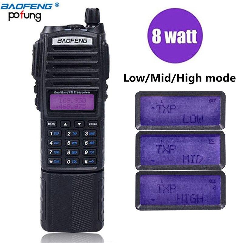 BaoFeng UV-82 Plus 10 km Puissance Élevée 3800 mah Batterie Talkie-walkie Bi-bande Radio longue portée Radio Portable pofung uv82 chasse