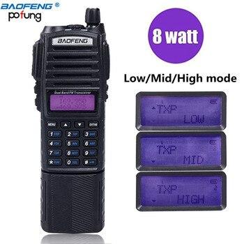 BaoFeng UV-82 Plus 10 km batería de alta potencia 3800 mAh Walkie Talkie Radio de doble banda de largo alcance portátil Radio pofung uv82 caza