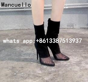 ФОТО Summer 2017 New Sexy Women Solid Black Transparent Pointed Toe Mid-calf Short Boots Zip Back Stiletto Heels Boots In Stock