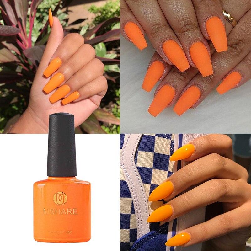 MSHARE Orange Nail Gel Polish Soak Off UV Gel Nail Art Gel