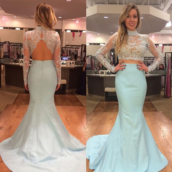 High Collar Long Sleeves Two Pieces Prom Dresses for Graduation Sheer Bodice  Backless Mermaid 2 Pieces Evening Gowns Blue efd39d735