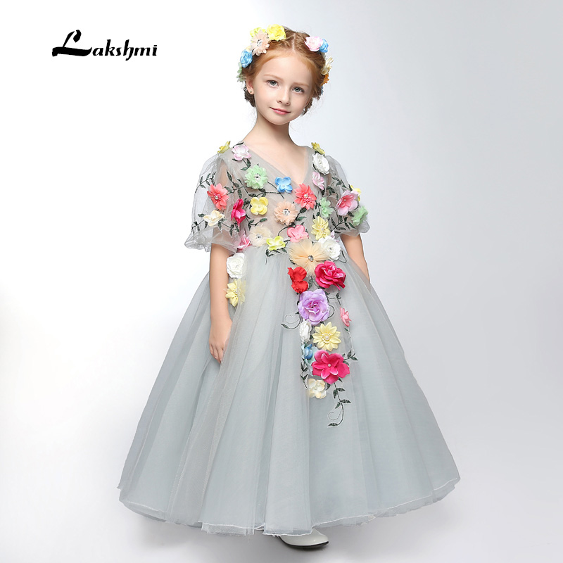 New Arrival Little   Girl   Ball Gown V-neck Appliqued Pageant   Flower     Girls     Dresses   with   Flowers   For Children Prom Gown