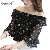 QoerliN Chiffon Blouse Women Summer Fashion Half Sleeve Sexy Off Shoulder Slim Black Print Floral Top Shirt Plus Size Streetwear