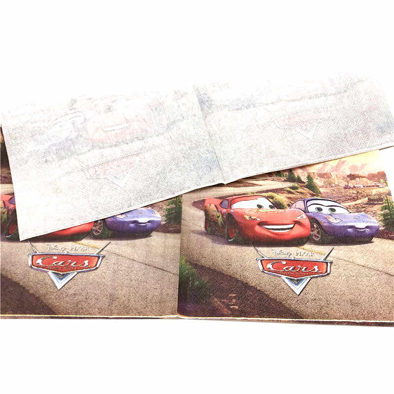 10 pçs/lote Relâmpago McQueen Carros Disney Tema Guardanapos De Papel Fornecimento De Papel Tissue Festa de Família Meninos Da Festa de Aniversário Do Chuveiro de Bebê