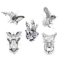 Waterproof Temporary Tattoo Fox Wolf Wolves Whale Owl Geometric Animal Tatto Flash Tatoo Fake Tattoos For Girl Women Man Kid(China)