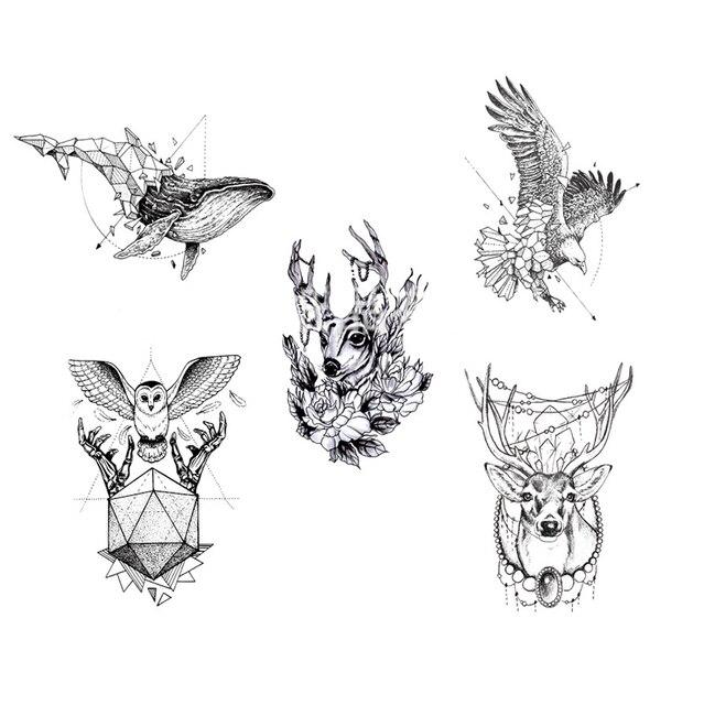 tanche temporaire tatouage renard loup loups baleine. Black Bedroom Furniture Sets. Home Design Ideas