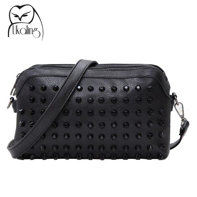 2016 Fashion Rivet Women Messenger Bags Small Women Bag Ladies PU Leather Crossbody Bags Clutch Purse Dollar Price