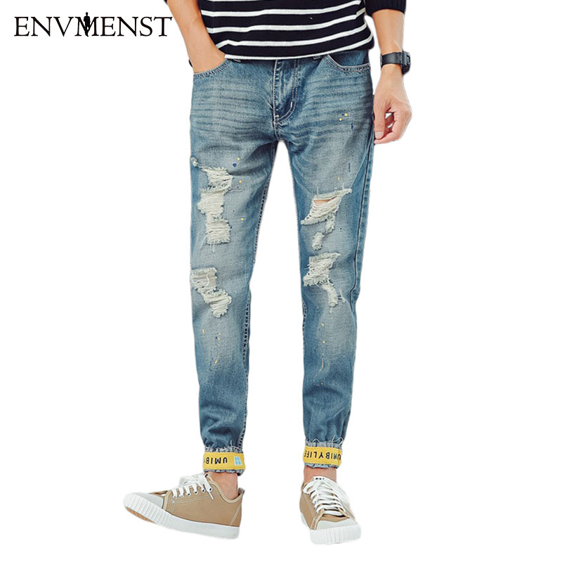 Envmenst 2017 Causal Men Long Trousers Zipper Restraint Feet Jeans Denim Pants Autumn Fashion Hole Pencil Jeans