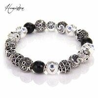 Thomas Style KM Bead Bracelet With Hand Of Fatima MAORI Zigzag Yinyang Skull Beads Rebel Heart