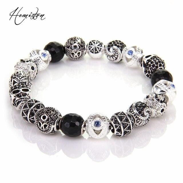Thomas Style Km Bead Bracelet With Hand Of Fatima Maori Zigzag Yinyang Skull