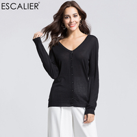 Escalier Women 75%Silk Sexy Sweaters Casual Full Sleeve Single Breasted Cardigans V Neck Thin Style Sweater Back button design