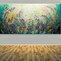 יד מצוירת נוף גודל גדול סגול פרחים מופשטים ציור שמן עיצוב אמנות קיר עכשווי מודרני עם מרקם צבעים סכין
