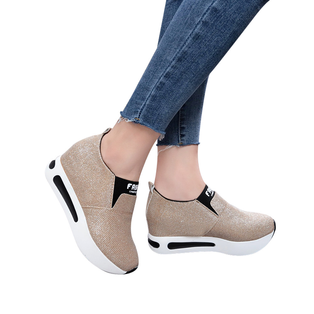 timeless design 251ee c7225 US $6.64 31% OFF|Women Flat Thick Bottom Shoes Slip On Ankle Boots Casual  Platform Sport Shoes scarpe donna estive nere #L4-in Tennis Shoes from ...