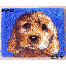 latch hook cartoon canvas printing vloerklee diy tapijt foamiran for needleworksets knooppakket dog face crocheting home decor(China)