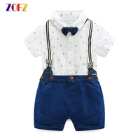 ZOFZ Baby Boy Clothes Cotton Short Sleeve Printed Romper Soft Knit Denim Jumper Shorts For Baby