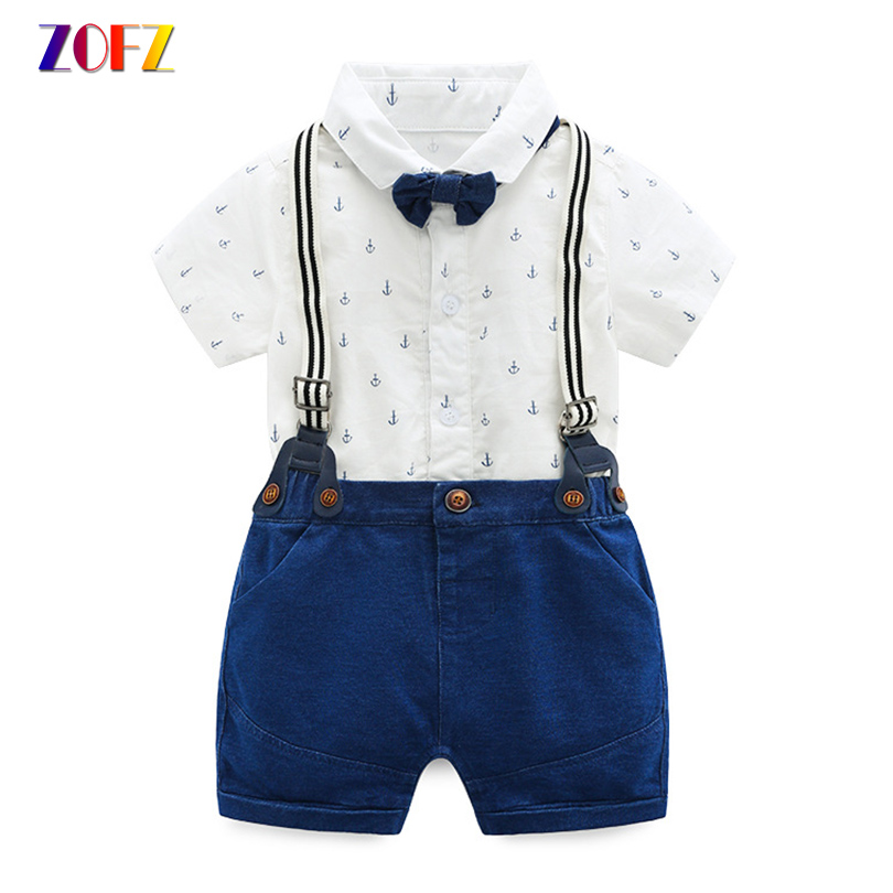 ZOFZ Baby Clothes Short Sleeve Printed Romper With Bow Tie and Denim Jumper Cotton Baby Sets For New Born Boys Summer Clothes