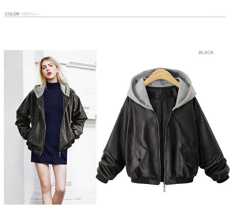 Autumn new large size women's hooded loose leather black jacket top maternity coats maternity jacket winter high fashion