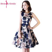 Beauty Emily New Fashions A-Line Short Sexy Party Prom Dresses 2017 Homecoming O-Neck Sleeveless Formal