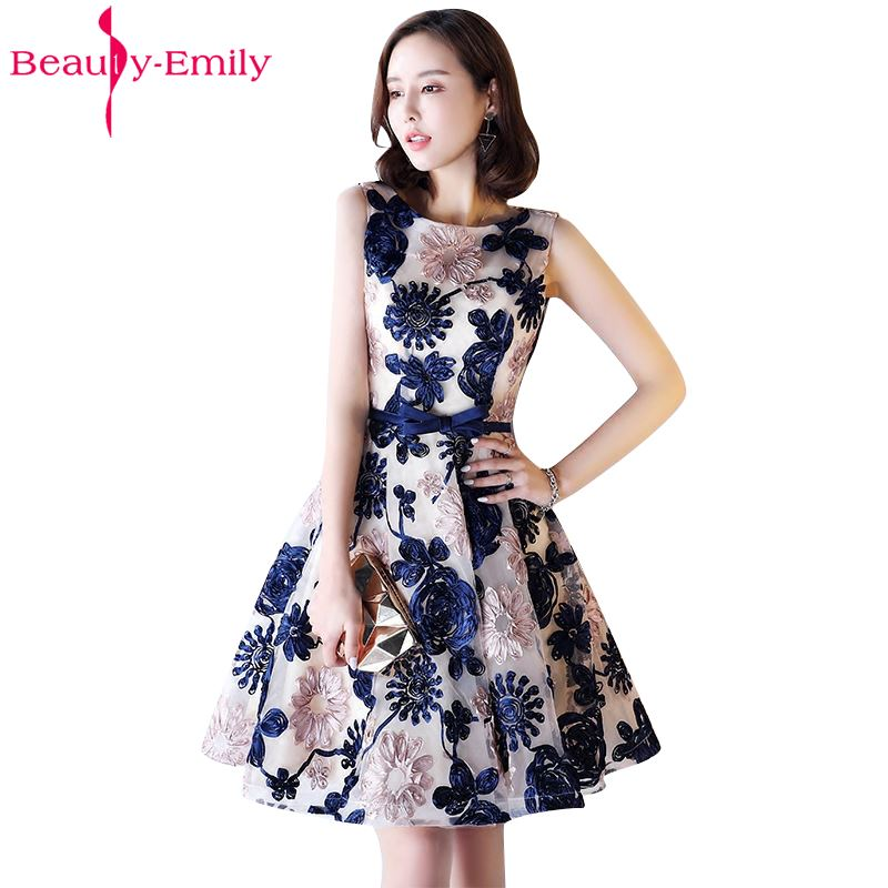 Beauty Emily New Fashions A-Line Short Sexy Party   Prom     Dresses   2017 Homecoming   Dresses   O-Neck Sleeveless Formal   Dresses