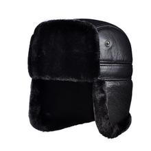 RY964 Male Winter Genuine Leather Faux Fur Black/Brown Bomber Hat