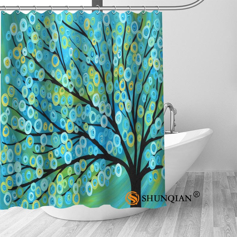 Custom Tree Life Paint Shower Curtain Polyester Fabric Bath Hooks Mildew Resistant 1PC Best Gift In Curtains From Home Garden On