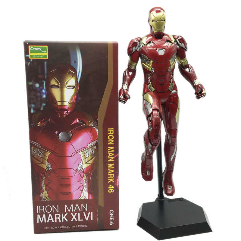 Сумасшедшие игрушки; Железный человек Mark XLVI фигурка 1/6 масштаб окрашенная фигурка железного человека Mk46 ПВХ Фигурки игрушки Brinquedos
