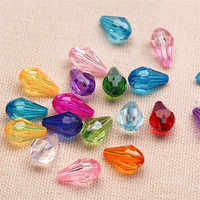 New Arrival Assorted Transparent Colors Acrylic Faceted Water Drop Shape Palstic Jewelry Beading Beads 8*13mm 1500pcs