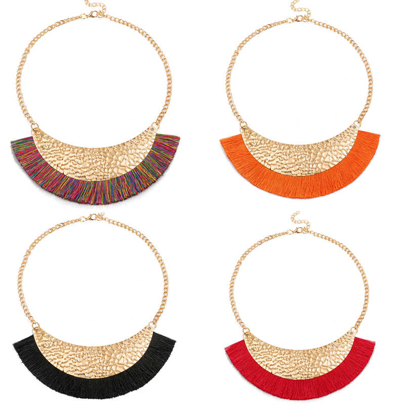 New shiny gold metal necklaces shiny fabric Tassel collar fashion statement necklace summer jewelry hot necklaces & pendant 2019