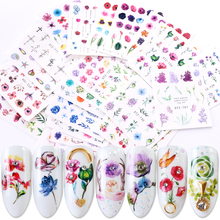 24 pçs gradiente decalques de unhas transferência de água adesivo flor borboleta envolve sliders decorações adesivas manicure BESTZ707 730