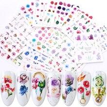 24 sztuk gradientu kalkomanie do paznokci naklejki transferu wody kwiat motyl okłady suwaki samoprzylepne dekoracje Manicure BESTZ707 730