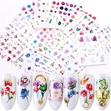 Autocollant autocollant dégradé pour les ongles transfert à leau, 24 pièces, motif en fleurs, papillon, curseurs adhésifs, décorations de manucure, BESTZ707 730