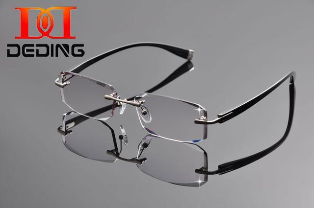 Tent DeDing 2016 fotograma nuevo espectáculo de corte de diamante gafas miopía titanio puro dinero para hombre sin marco marcos DD1264
