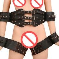 Adult Games Sexy Body Harnesses Belt Sexy Women Fetish Bdsm Bondage Restraints Wrist And Leg Cuffs Waist Arm Binder Set