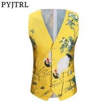 PYJTRL Male Stylish Jacquard Red-crowned Crane Slim Fit Casual Suit Waistcoat Wedding Groom Stage Singers Costum Vests For Men