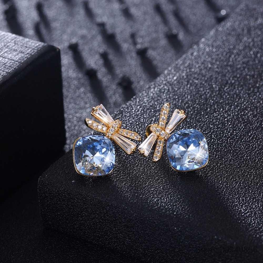 LEKANI Cristalli da Swarovski Donne Orecchini con perno di Lusso Farfalla Blu S925 Sterling Silver Gioielleria Raffinata Austriaco Strass