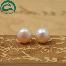 Natural Pearl Earrings 925 Sterling Silver Jewelry Women Pink 10-10.5MM Off-Round Stud Earring Natural Freshwater Pearl Jewelry
