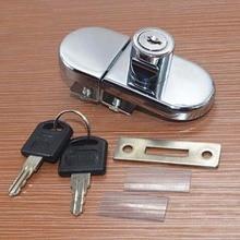 цены High Quality 10pcs double glass door locks Glass Cabinet Jewelry Showcase Display lock Telephone counter lock glass lock CP54