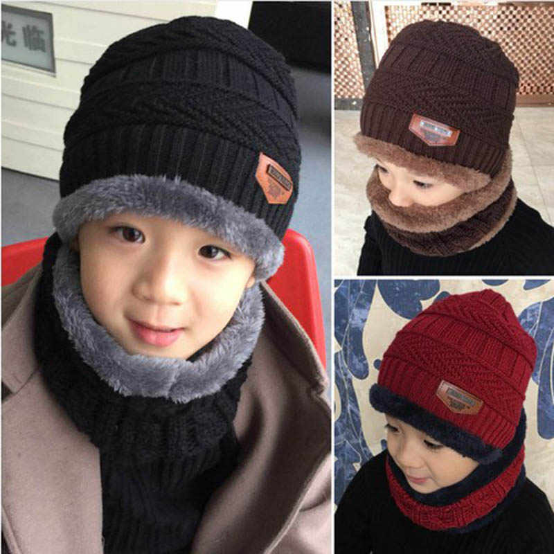 Kinder Winter Hut Schal Set Jungen Mädchen Stricken Hüte Schals Set Solide Baumwolle Samt Verdicken Warme Outdoor Ätherisches