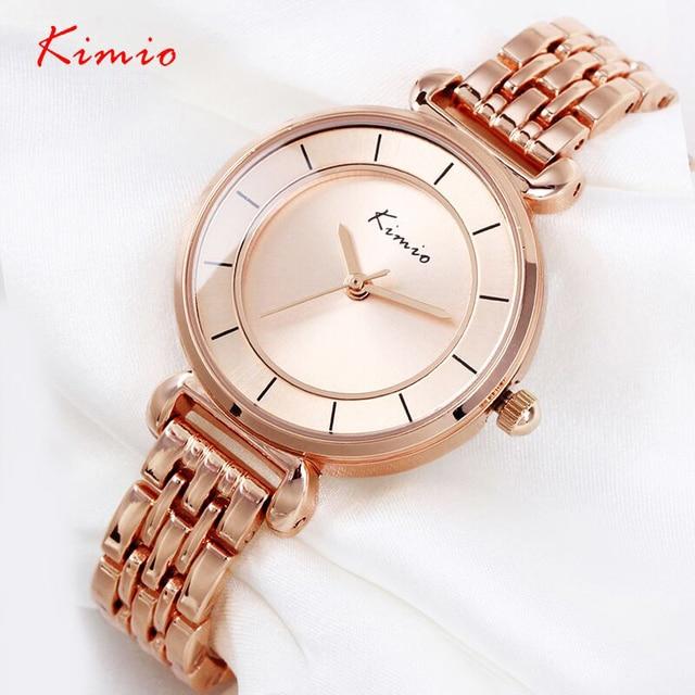 KIMIO Brand Luxury Crystal Gold Watches Women Fashion Bracelet Quartz Watch Shock Waterproof Relogio Feminino orologio donna