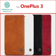 Leather Case for OnePlus 3 Original NILLKIN Qin Series Classic Flip Cover for OnePlus 3