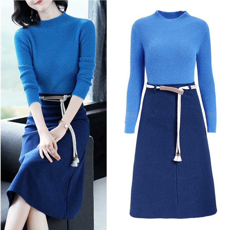With Belt New Work Wear 2 Piece Set Knitted Sweater Women Skirt Suit  Autumn Winter Women Sweater And Long Skirt Suits Set NS975