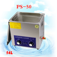 1PC ultrasonic cleaner 14L 300w PS 50 AC110/220v with timer&heating dental clinics Circuit borar free basket