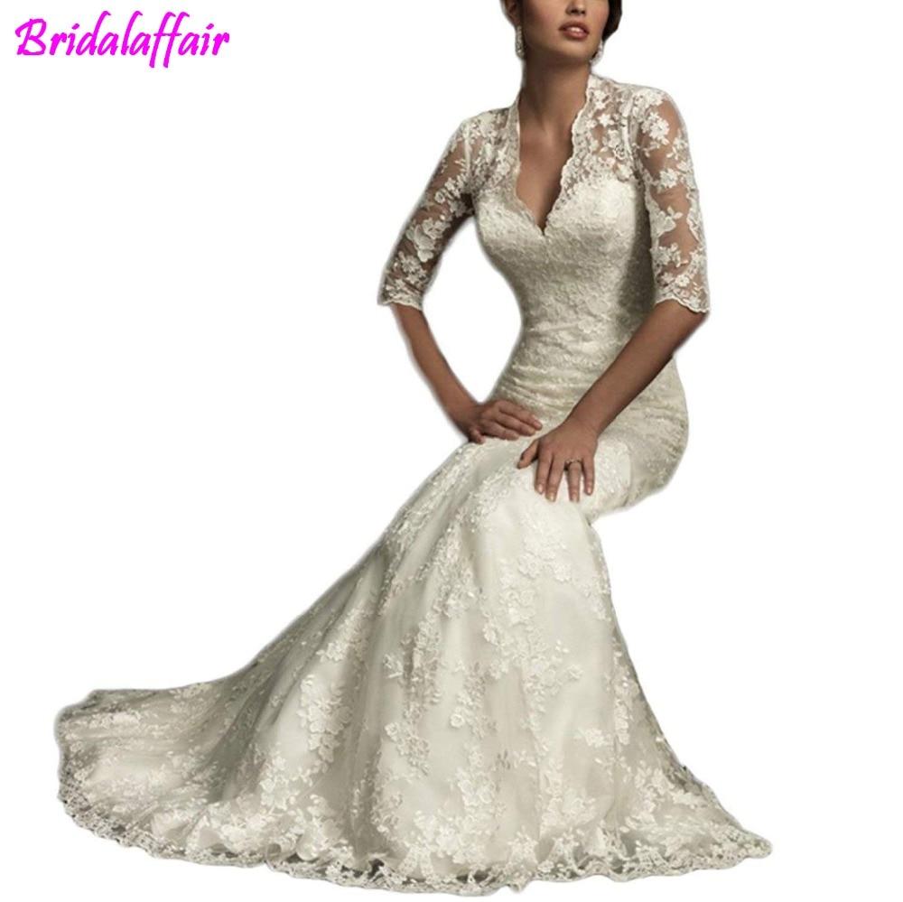 Women's 2018 Wedding Dress Mermaid Lace Wedding Gowns Long