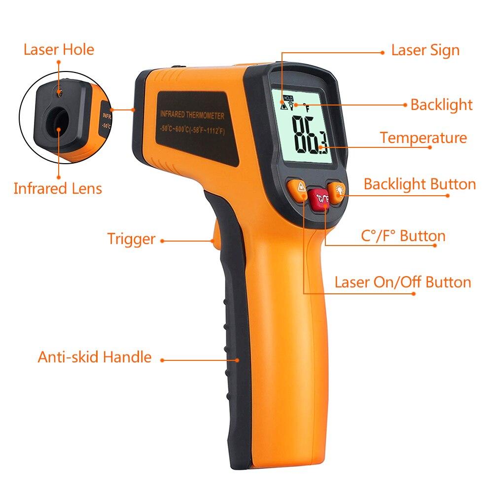 Image 2 - Digital Laser IR Infrared Thermometer Temperature Meter LCD  Thermostat  50~600C  50~400C C/F Celsius Pyrometer Non   contacttemperature meterthermometer temperatureinfrared thermometer  temperature -