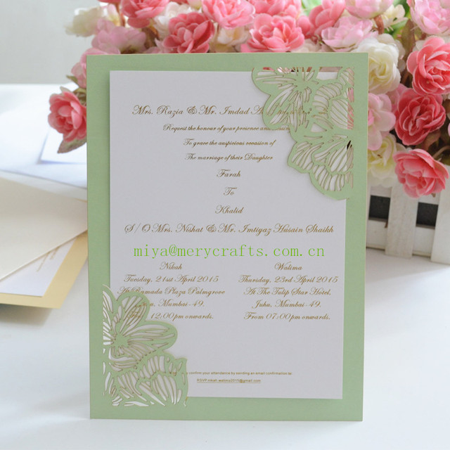 HOT Mint Green Peach Laser Cut Pocket Elegant Birthday Invitations With Blank Insert Card
