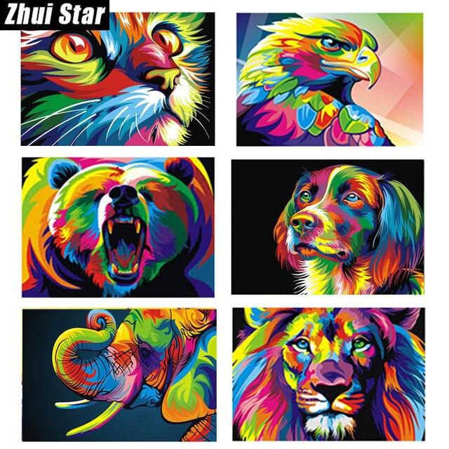 """Zhui star piazza piena di diamante 5d diy diamante pittura """"Animali colorati"""" 3d"""