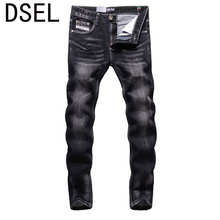 2017 New Dsel Brand Fashion Designer Jeans Men Straight Black Color Printed Men Jeans Ripped Men Jeans!702-2C
