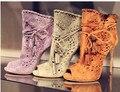 Nuevo Diseño de La Manera de Las Mujeres Zapatos de Tacón Alto Peep Toe de Lujo gamuza de Cuero Calado Borla Señora Bombea Talón Fino de Partido Atractivo Stilettos