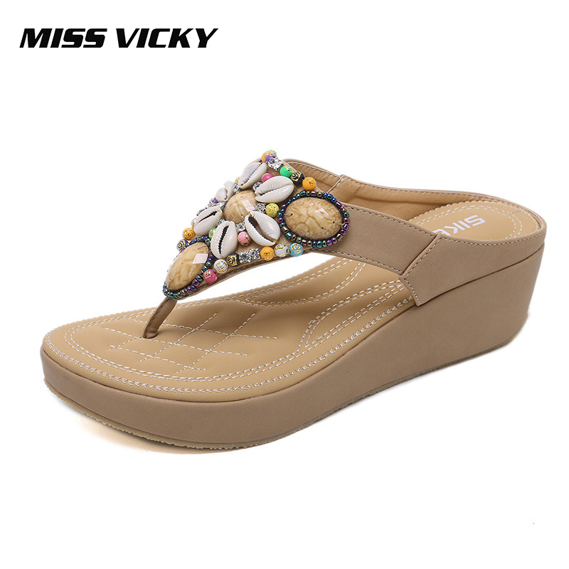 MISS VICKY 2019 New Slippers Bohemian Style Wedge Large Size Beach Shoes