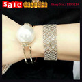 Statement Big Imitation Pearl  Gold Plated Golden Metal Alloy Bangle Bracelets for Women Bridesmaid Weddings Jewelry Gift